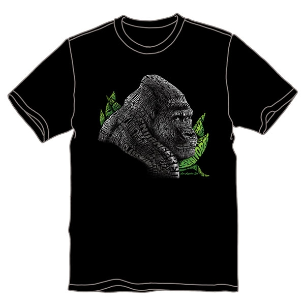 ADULT SHORT SLEEVE TEE TEXT GORILLA BLACK
