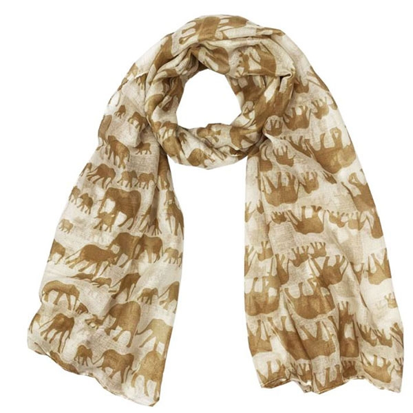 ELEPHANT SCARF BROWN
