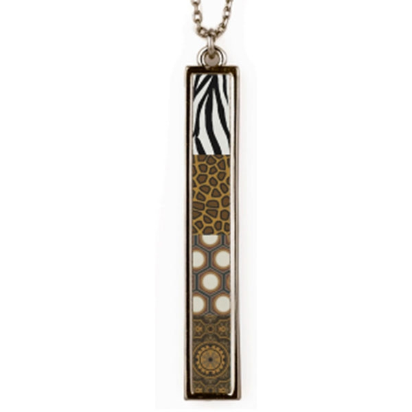 Animal Print Reversible Vertical Bar Necklace