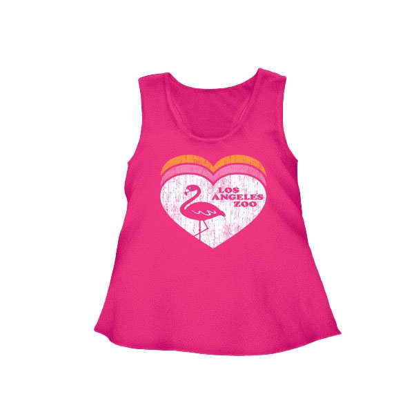 YOUTH GIRLS TANK TRIPLE HEART FLAMINGO HOT PINK
