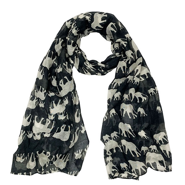 ELEPHANT SCARF BLACK