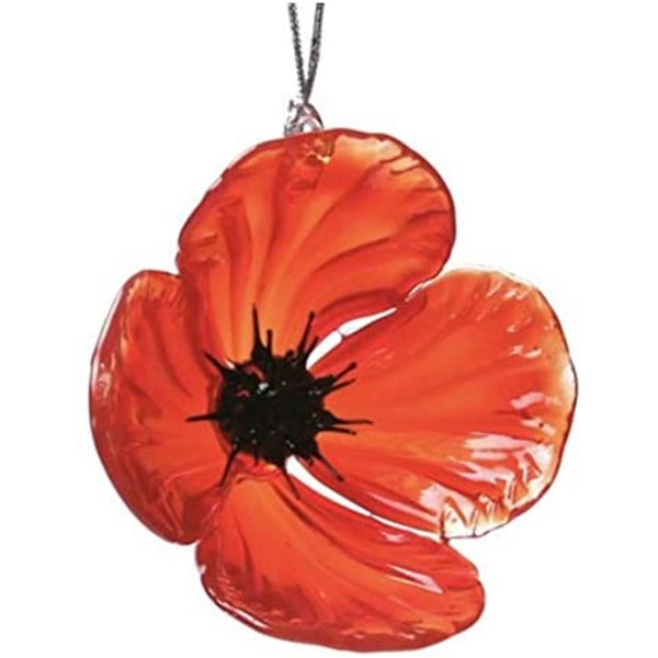 GLASS ORNAMENT POPPY