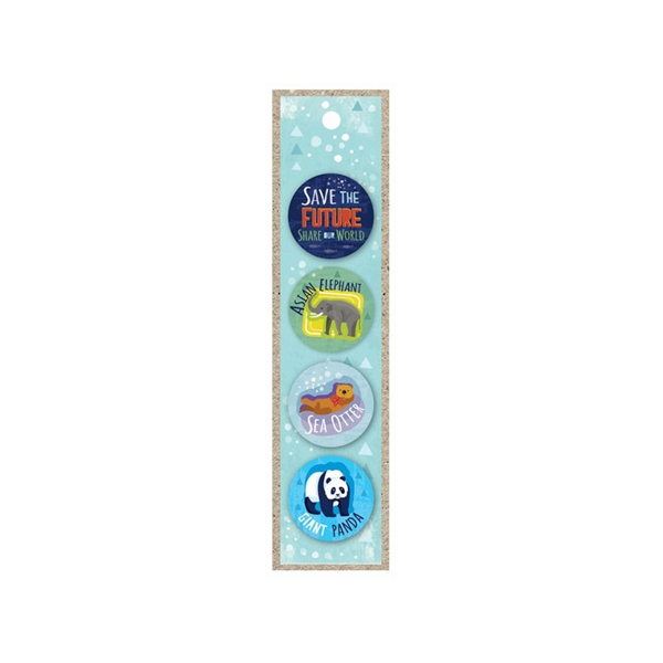4 PACK ENDANGERED SPECIES BUTTONS