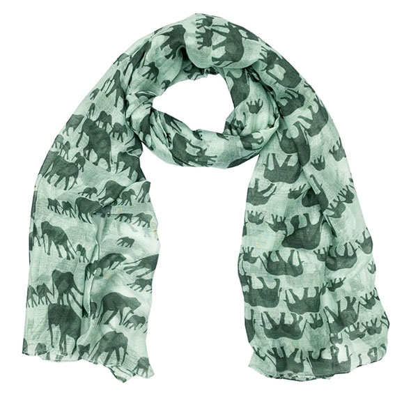 ELEPHANT SCARF GREEN