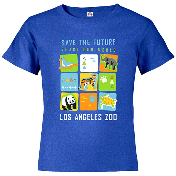 YOUTH SHORT SLEEVE TEE SAVE THE FUTURE CUBES HEATHER ROYAL