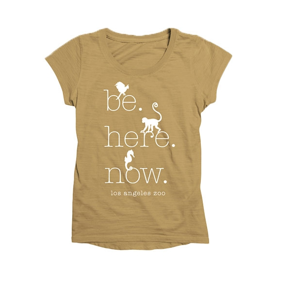 LADIES SCOOP NECK TEE BE HERE NOW HARVEST